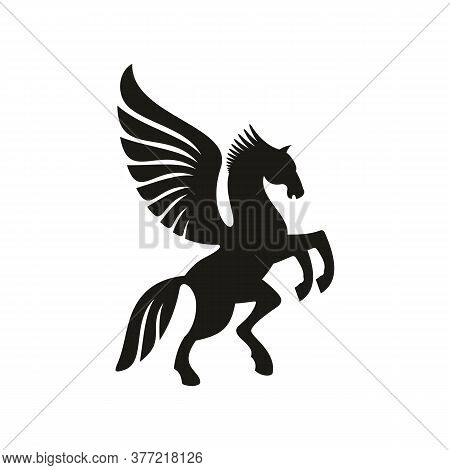 Winged Horse Silhouette Isolated Pegasus Silhouette. Vector Unicorn Heraldic Symbol, Mythical Animal