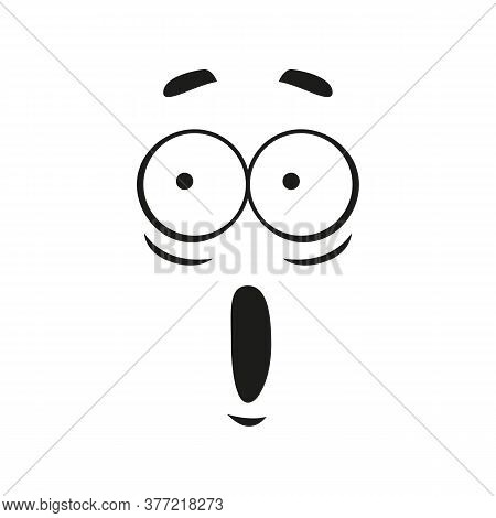Surprised Face Expression Isolated Excited Emoticon. Vector Astonished Emoji, Wondering Feeling