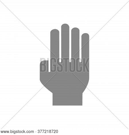 Three Fingers Up Gray Icon. Oath, Victory Gesture Symbol