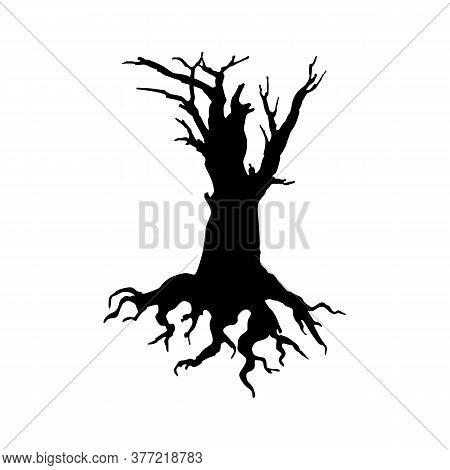 Creepy Dead Tree Silhouette Vector Illustration. Autumn, Winter Season, Nature Death Hand Drawn Mono