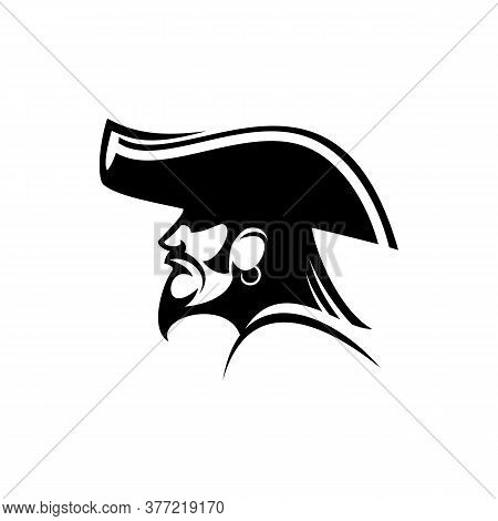 Bearded Pirate With Earring And Captain Hat Isolated Silhouette. Vector Sea Bandit, Person Attacking