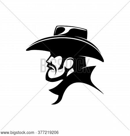Brutal Cowboy In Leather Hat Isolated Profile. Vector Wild West Bearded Man, American Sheriff Or Ban