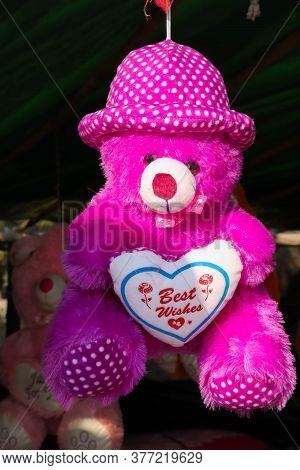 Best Wishes Colorful Teddy Bear With Printed Best Wishes Message