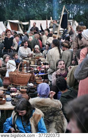 Russia, Volkhov, 13,07,2013 People In Authentic Historical Clothing At A Medieval Feast, The Festiva