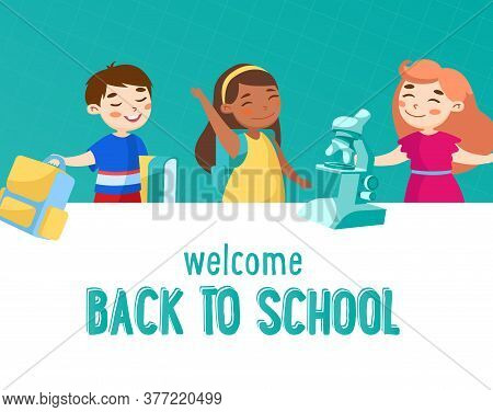 Welcome Back To School Concept. Little Kids Schoolers Or Preschoolers With Books, Rucksack And Micro