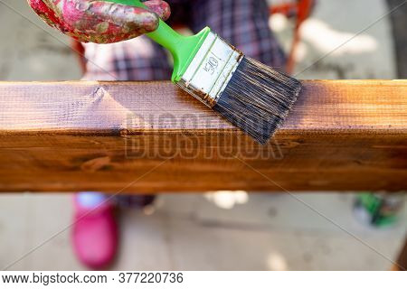 Hand Holding A Brush Applying Varnish Paint On A Wooden Surface.home Improvement - Handywoman Painti