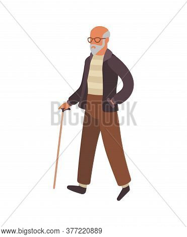 Elderly Man Walking. Happy Old Senior In Glasses With Stick Walks In Park, Healthy Leisure Lifestyle