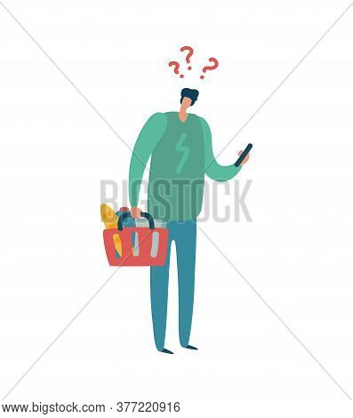 Man Shopping. Modern Male Character With Question Mark Above Head Hold Colorful Basket, Buyer With L