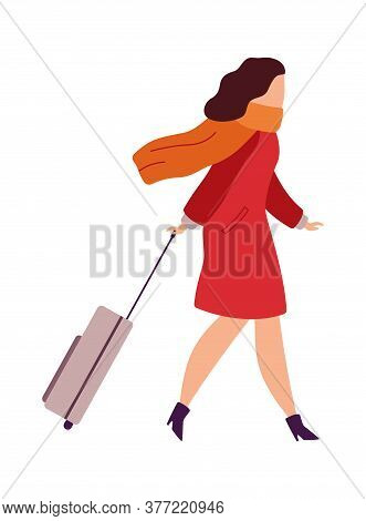 Woman In Airport Going On Vacation. Female With Suitcase Boarding. Cartoon Character In Terminal. Pa