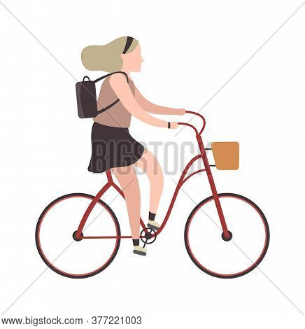 Woman Riding On Bicycle. Simple Character Cyclist Girl Rides On Bike. Outdoor Activities Or Walking