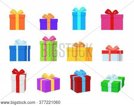 Gift Box. Colorful Present Boxes With Bright Ribbons, Bows And Ornaments, Modern Packing For Christm