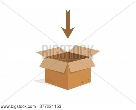 Open Cardboard Box. Isolated Carton Shipping Container. Delivery Cardbox In Brown Color And Flat Des