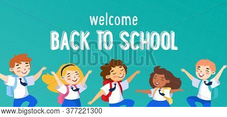 Welcome Back To School Concept. Schoolboys, Schoolgirls Characters In Uniform Waving Hands Greeting
