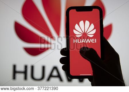 London, Uk - July 2020: Huawei Company Logo On A Smartphone