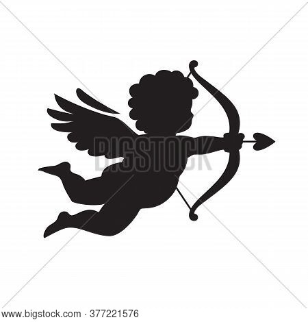 Black Silhouette Of Cupid Aiming A Bow And Arrow. Valentines Day Love Symbol. Vector Illustration Is