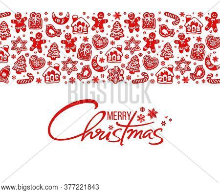 Merry Christmas Greeting Card. Handwritten Text And Horizontal Border Composed Of Gingerbread Cookie