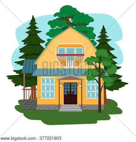 House In Forest. Country Cute House Among Trees, Mysterious Beautiful Wildlife, Fairytale Garden Cot