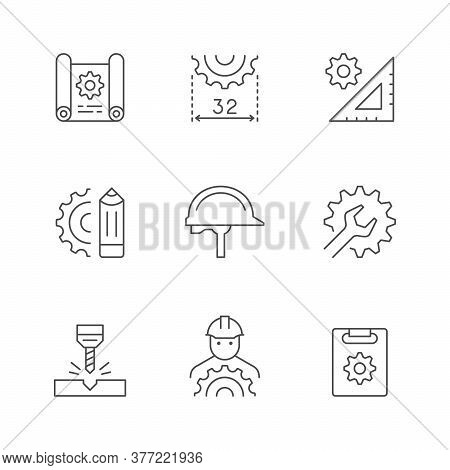 Set Line Icons Of Engineering Isolated On White. Drawing, Blueprint, Construction Helmet, Wrench Or