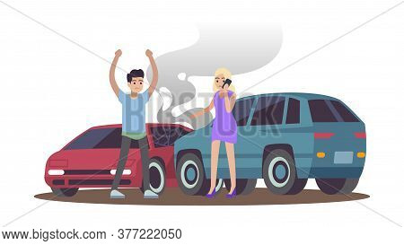 Car Accident. Man And Woman After Cars Collision On Road, Male Character Angry Female Calling On Pho