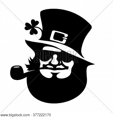 Leprechaun Face Icon With Hat, Sunglasses, Pipe, And Clover Saint Patricks Day Logo Hand Drawn Black
