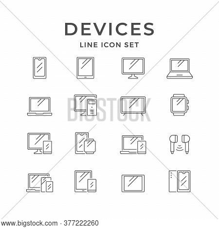 Set Line Icons Of Devices And Gadgets Isolated On White. Mobile Phone, Tablet, Monitor, Laptop, Smar