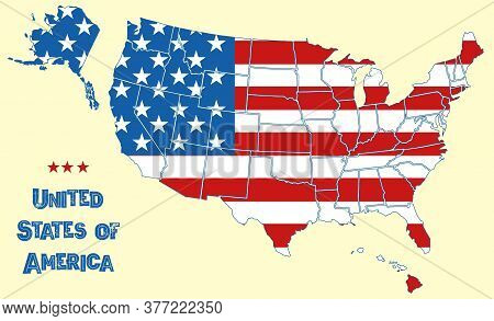 Map Of The United States Of America. Flag Of Usa Throughout Territory With Borders Of All States, Wh