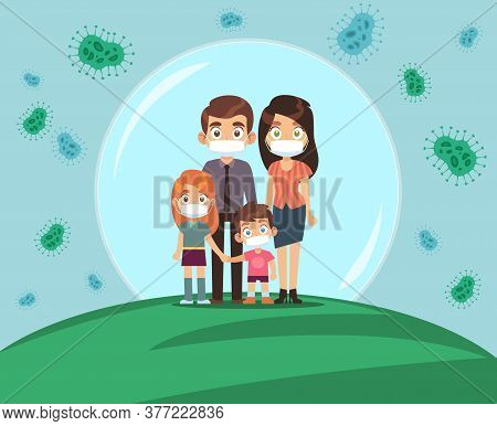 Family Protected From Virus. Mom Dad And Kids In Medical Masks Stands In Protective Bubble, Stop The