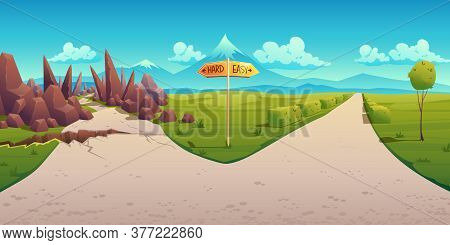 Concept Of Choice Between Hard And Easy Way. Vector Cartoon Landscape With Road Fork, Direction Sign