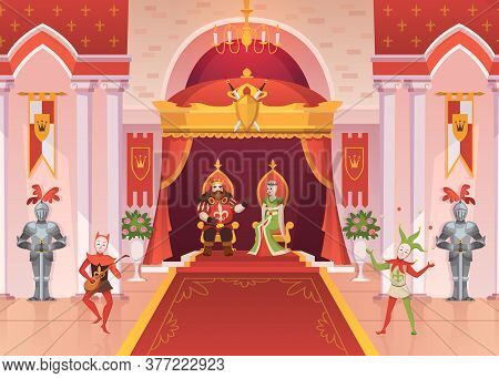 King And Queen. Luxury Interior Medieval Royal Palace Throne Monarchy Ceremony Room With Pillars And