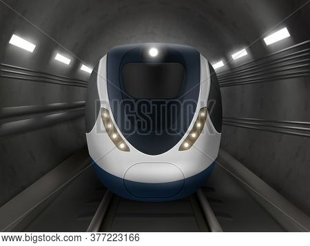 Train Or Metro In Tunnel Front View, Subway Locomotive On Rails With Windshield And Illumination. Mo