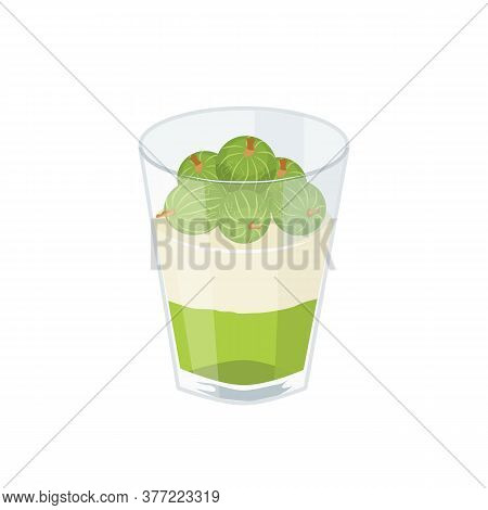 Dessert With Gooseberries In A Glass. Gooseberry Jelly, Whipped Cream And Berries. Vector Illustrati