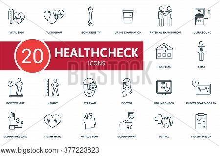 Health Check Icon Set. Collection Contain Doctor, Body Weight, Eye Exam, Bone Density And Over Icons
