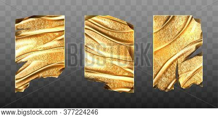 Old Gold Foil Sheets With Torn Edges And Wrinkles. Vector Realistic Mockup Of Crumpled Golden Foil,
