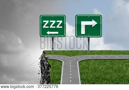 Sleeping While Driving And Drowsy Driver Concept As A Traffic Symbol For Drivers That Fall Asleep At