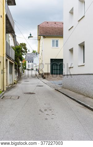 Traditional Austrian Medieval Architecture In The City Of Gmunden. Narrow Street In Austria. Retro S