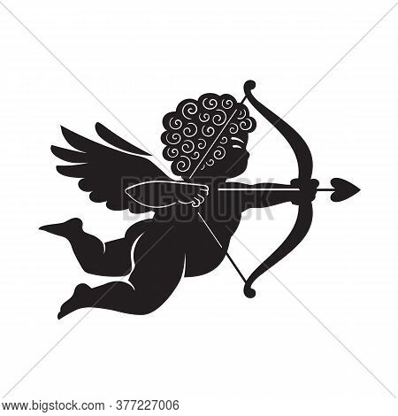 Black Silhouette Of Cupid Aiming A Bow And Arrow. Valentines Day Love Symbol.vector Illustration Iso