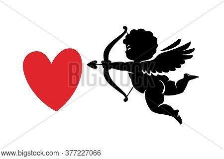 Black Silhouette Of Funny Cute Cupid Aiming A Bow And Arrow At Red Heart. Valentines Day Love Symbol