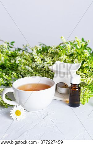Composition Of A White Cup Of Tea, An Aroma Lamp And Bottle Of Aromatic Oil On A Background Of Fresh
