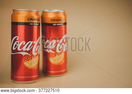 Samut Prakan, Thailand - July 20, 2020 : Canned Coke No Sugar Orange Flavoured The Most Popular Beve