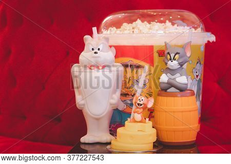 Samut Prakan, Thailand - July 20, 2020 : Set Of Bucket Popcorn And Glass To Promote The Movie Of Tom