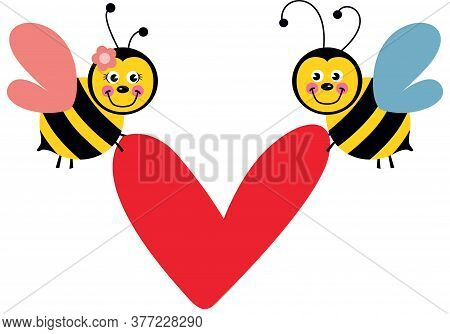 Scalable Vectorial Representing A Couple Of Bees Flying Holding A Red Heart, Element For Design, Ill