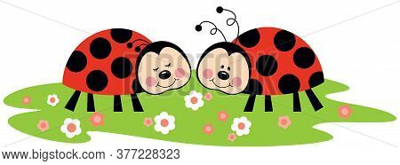 Scalable Vectorial Representing A Couple Of Ladybirds In Garden, Element For Design, Illustration Is