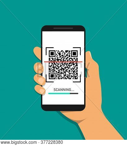 Hand Scanning Qr Code In Mobile Phone. Barcode, Qrcode Scanning In App Of Smartphone. Scan Id Paymen