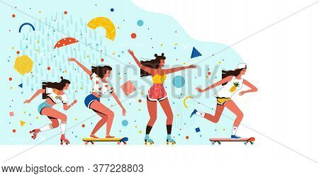 Young Cheerful Girls Ride Roller Skates And Skateboards. Summer Rest And Entertainment. Fun Outdoor