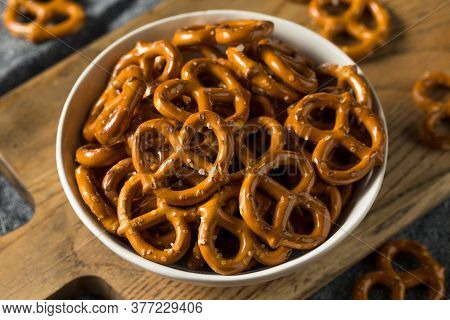 Salty Crunchy Pretzel Crackers In A Bowl