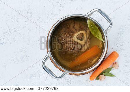 Paleo Bone Broth Diet, Beef Meat Soup. Low-carb Food, Keto Recipe.