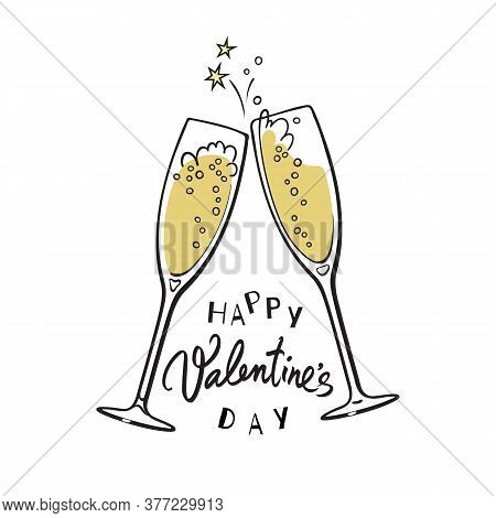 Happy Valentines Day Handwritten Calligraphic Text With Two Red Hearts And Two Sparkling Glasses Of