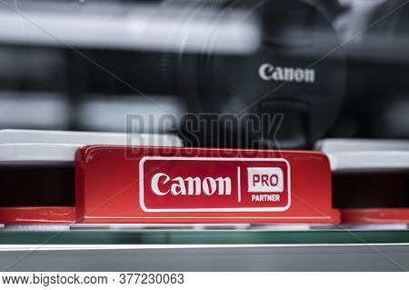 Krasnoyarsk, Russia, July 20, 2020: Canon Partner Pro-advertising Sign With The Companys Logo In Red