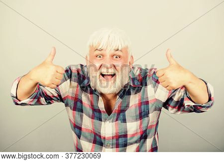 Your Stylist. Barber And Hairdresser. Male Fashion. Grandfather On Retirement. Mature Bearded Man In