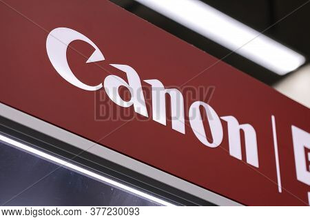 Krasnoyarsk, Russia, July 20, 2020: Canon-logo Of A Japanese Company That Produces Photo And Video E